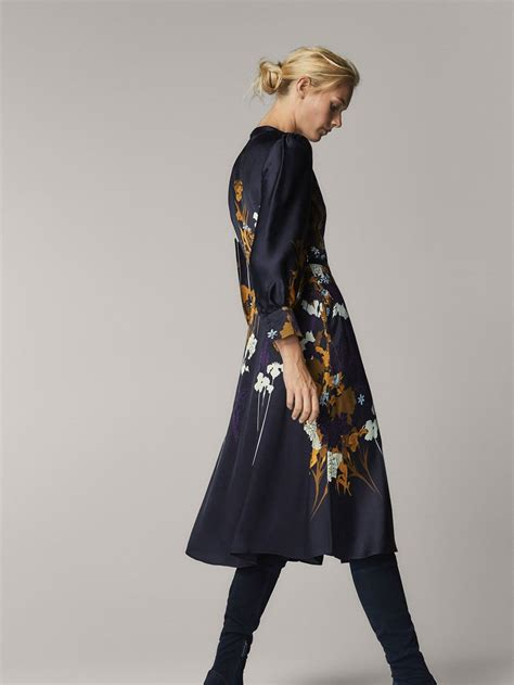 Fall Winter 2017 Women´s FLORAL PRINT SATIN DRESS WITH