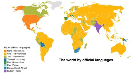 A map of the world according to the number of languages