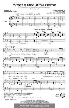 What a Beautiful Name sheet music | Hillsong in 2020