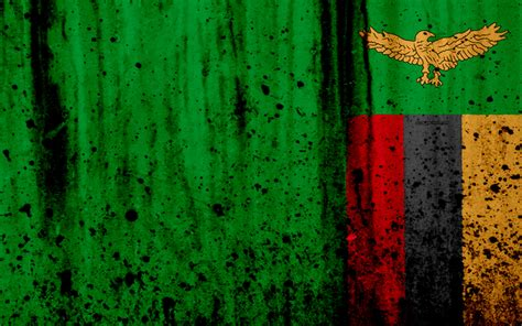 Download wallpapers Zambian flag, 4k, grunge, flag of