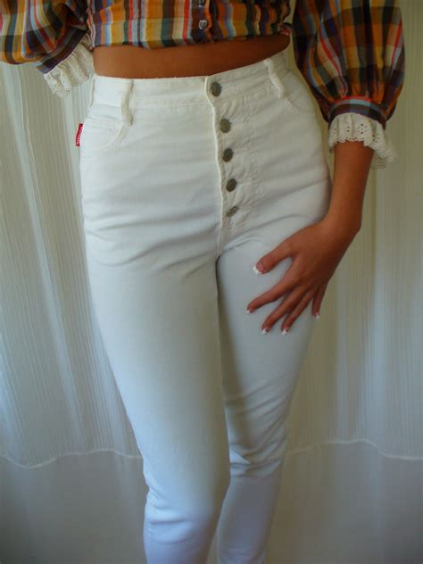 Vintage 70s 80s Bongo Jeans White High Waist Button Fly