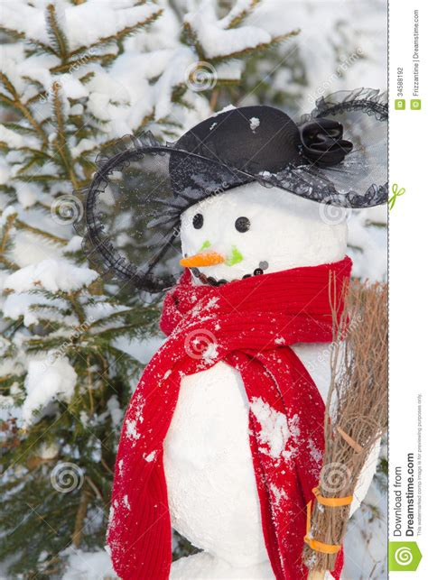 Winter - Snowman In A Snowy Landscape With A Hat And A Red